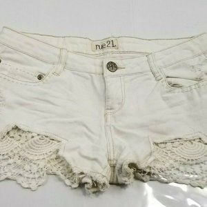 Rue 21 Juniors SIZE 5 / 6 White Shorts Frayed Dist